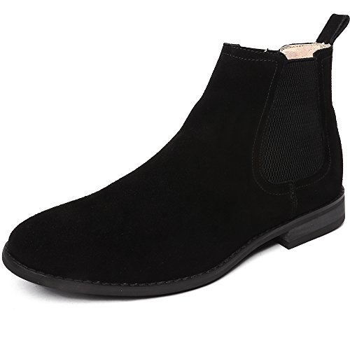 Mens Black Suede Boot - OUOUVALLEY Classic Slip-on Original Suede Chelsea Boots 12 N(A) US, Black