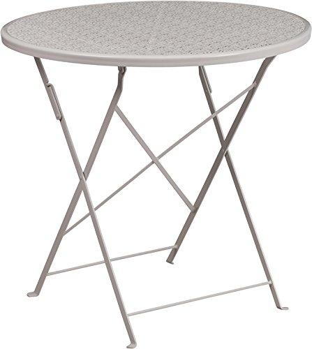- Flash Furniture 30'' Round Light Gray Indoor-Outdoor Steel Folding Patio Table