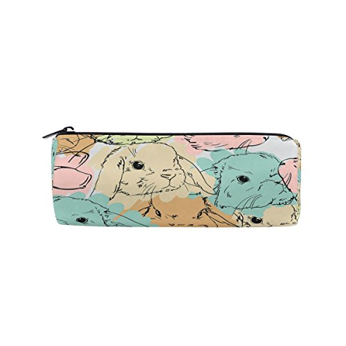 WOZO Cute Hare Rabbit Bunny Pen Pencil Case Makeup Cosmetic Pouch Case Travel Bag -