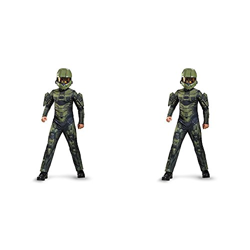 Master Chief Classic Costume, Medium (7-8) with Master Chief Classic Costume, Small (4-6) Bundle - Halo 4 Master Chief Costumes