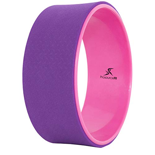"""Prosource Fit Yoga Wheel Prop 12"""" for Improving Yoga Poses & Backbends, Flexibility, Balance, Stretching, Relaxation, Purple/Pink"""