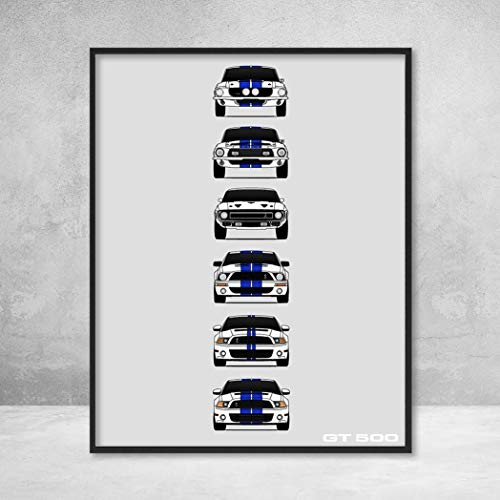 - Shelby Mustang GT500 Generations Poster Print Wall Art of the History and Evolution of the Ford Shelby GT500 (White Car, Blue Stripes)