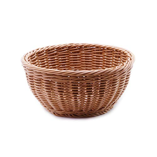 Yosayd Handmade Woven Round Wicker Basket Display Basket Fruit Candy Cake Basket Or Storage for Bread,Keys, Wallet, Cell phone and more (Round,1pc) (Round Baskets Wicker)