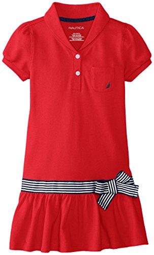 Nautica Little Girls' Shawl Collar Pique Dress with Grosgrain Ribbon Sash, ERO Red, 6