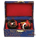 Traditional Chinese Health Exercise Stress Message Balls with Chime, Black Dragon / Phoenix, 1.5 Inches
