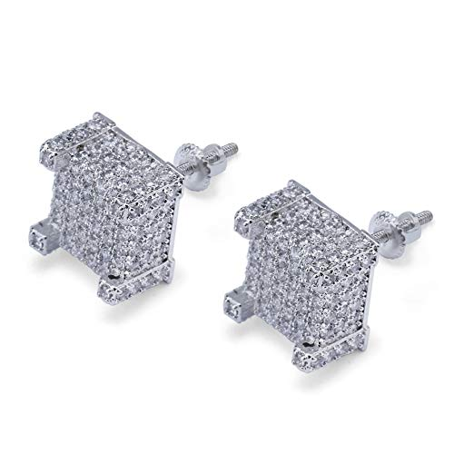 Hip Hop Iced Out Big Square Flat Screen Block Screw Back Stud Earring For Men and Women (White Gold)