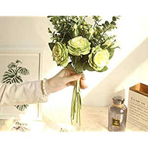 Bridal Rose Wedding Bouquet Bridesmaid Peony Eucalyptus Leaves Bouquets Artificial Silk Flowers Arrangement,Small-White 4