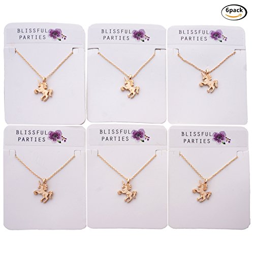 Unicorn Party Favor Necklaces, Great Friendship Necklaces or Unicorn Birthday Gifts, Rose Gold, Pack of ()