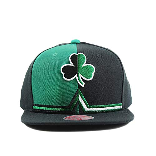 Mitchell & Ness Boston Celtics Black and Green Adjustable Shorts Split Snapback Hat (Celtics Boston Snap)