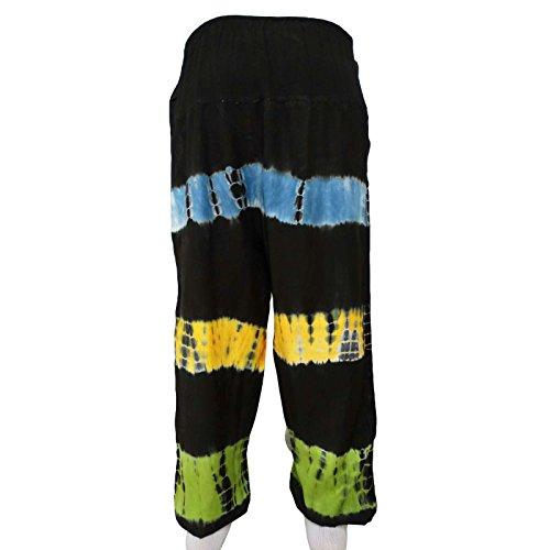 Rayón elástico Harem Boho gitanas pantalones anchos pantalones de las mujeres de playa pijamas Noir