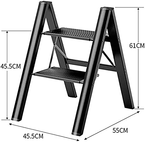 DY - Escalera Multiusos Resistente y Plegable de Seguridad, con Plataforma Ancha, escaleras de Ahorro de Espacio, escaleras Ligeras, Ideal para el Mercado doméstico o la Oficina, Negro, 2 estantes: Amazon.es: Hogar