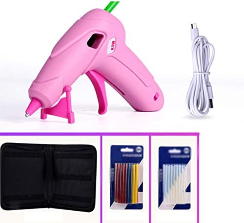 CHenXin- ワイヤレスホットメルト接着ガン、透明で着色スティックのりで接着ガン、ツールボックス、DIYのプロジェクトに適した、工芸品や家庭、メンテナンスシールを充電8.5WミニポータブルUSB ホットグルーガン (Color : Pink, Size : A)