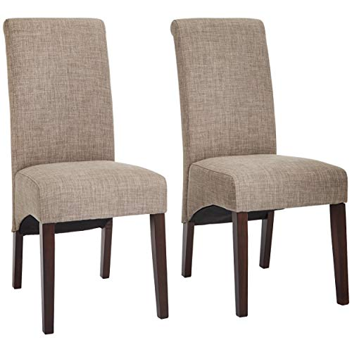 Red Hook Coimbra Linen-Look-Upholstery Parsons Dining Chair, Beautiful Beige, Set of 2