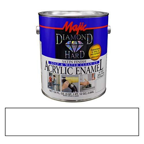 - Majic Paints 8-1591-2 Diamond Hard Acrylic Enamel Satin Paint, 31 oz, White Tint Base #1