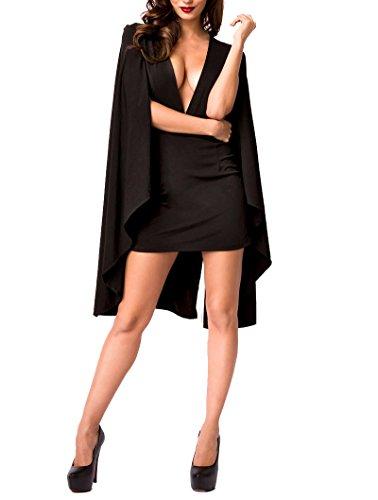 Schwarz mit Cape Glamour Fashion Dekollete Angies Kleid und Effekt Sexy wTWzxnx7d