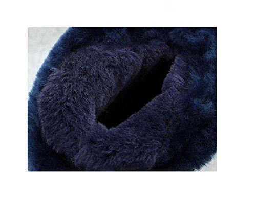 Winter Snow Boots Girl's Short Tube Flat bottom With velvet Denim Blue Mixed colors Student Cotton Shoes DENIMBLUE-39 kPCBi