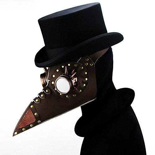 XY Fancy 2018 Halloween PartyRetroPunkMask Plaguem Cosplay Props Steampunk PU Leather MaskMetal Frame(Brown2)