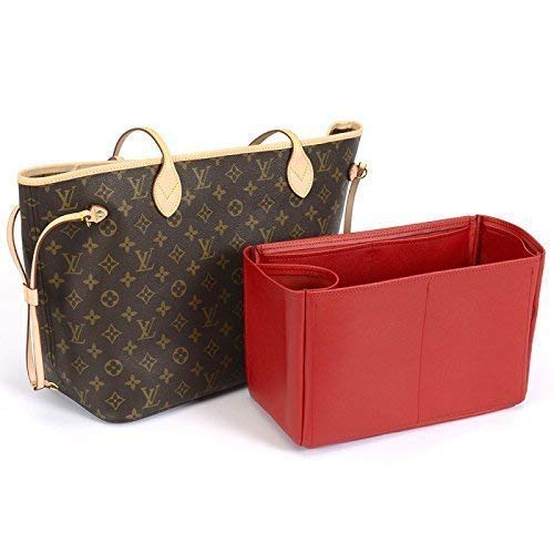 Express Shipping Leather bag insert for LV Neverfull MM Neverfull MM Deluxe Leather Handbag Organizer in Cherry Red Color