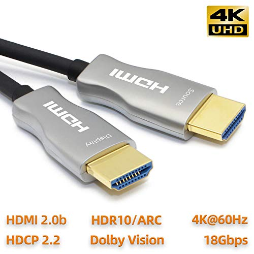 MavisLink Fiber Optic HDMI Cable 100ft 4K 60Hz HDMI 2.0 Cable 18Gbps HDMI Cord Support ARC HDR HDCP2.2 3D Dolby Vision for Blu-ray/TV Box/HDTV / 4K Projector/Home Theater