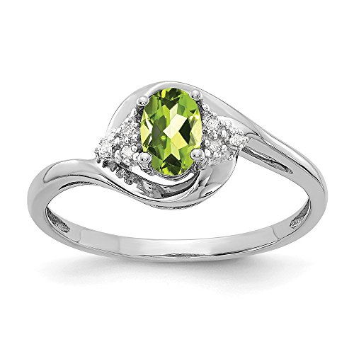 14k White Gold Green Peridot Diamond Band Ring Size 7.00 Stone Birthstone August Fine Jewelry Gifts For Women For - Gold 14k Diamond Green
