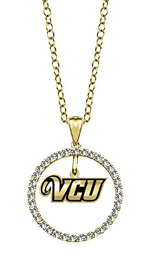 Virginia Commonwealth University VCU Rams 14kt Yellow Gold and Diamond Circle Charm Necklace by College Jewelry