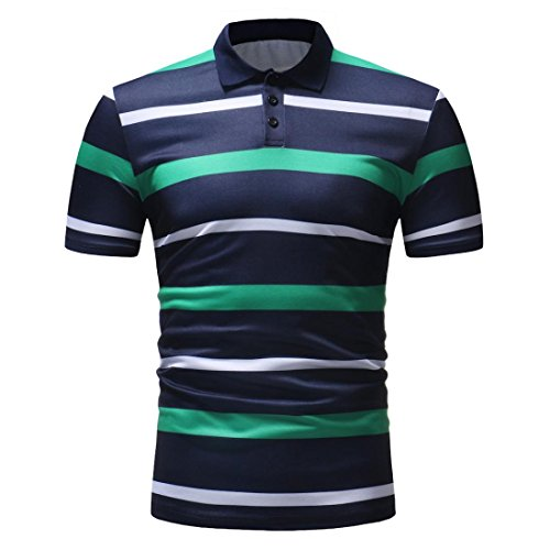 vermers Mens Fashion Polo Shirts Summer Casual Buttons Striped Short Sleeve T Shirt(M, Green) by vermers (Image #2)
