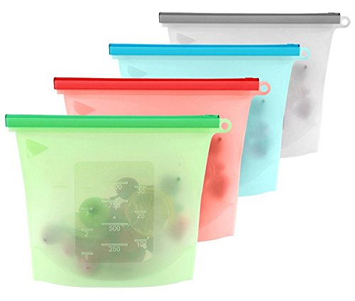 WholFam Reusable 1-Liter Silicone Food Storage Bags for Fruits, Vegetables, Meat and More (Set of 4) Reusable Storage Zip Lock Bags