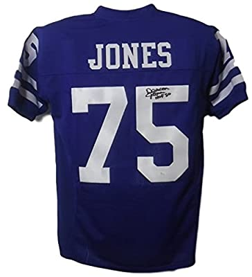 Deacon Jones Autographed Los Angeles Rams Custom Blue Short Sleeve Size XL Jersey HOF 80 JSA