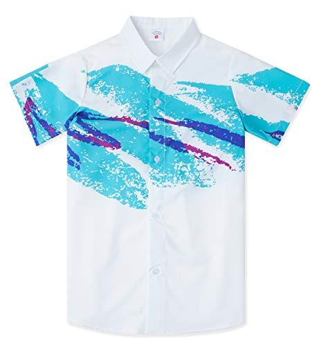 Uideazone Boys Casual Aloha Hawaiian Luau Shirt with 3D Pattern Printed Button Down Shirt Paper Cup White Light Blue Short Sleeve Shirt Hawaiian Print Clothing ()