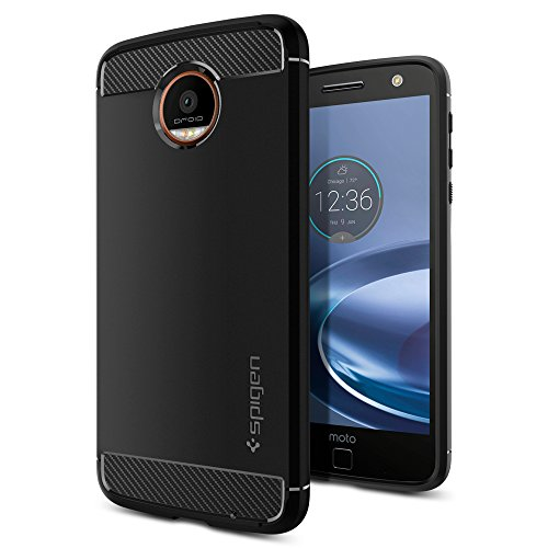 Spigen Rugged Armor Designed for Moto Z Force Droid Case (2016) - Black (Best Moto Z Case)