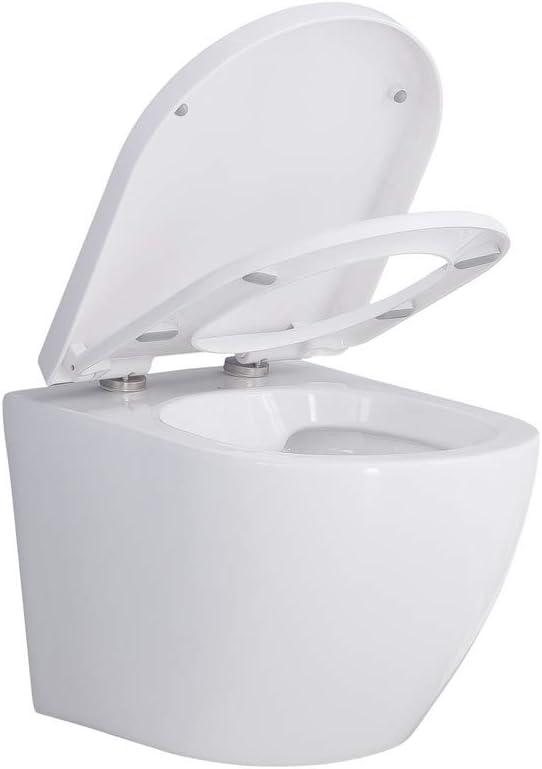 H/änge Wand Bidet,WC mit Soft-Close-Deckel WC-Sitz HOMELODY Weiss Wand H/änge Toilette