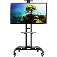 Mobile TV Stand with Mount and Wheels for 32 to 65 Inch for LED LCD Plasma Flat Panel Screen, VESA 100x100 to 600x400 - Black