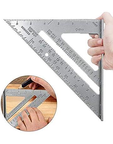 YOTINO Medición de Regla Triangular 7 Pulgadas Escuadra de Aleación de Aluminio Sistema Imperial Alta Precisión