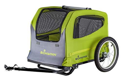 Schwinn Rascal Plus Foldable Bike Trailer for Pets, 16-Inch Wheels, Green/Grey ()