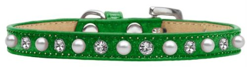 Mirage Pet Products Pearl and Jewel Ice Cream Collar, 14-Inch, Emerald Green