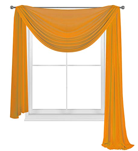 WPM WORLD PRODUCTS MART Orange Elegance Sheer Scarf Valance 216'' Long