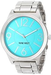 Nine West Women's NW/1585TLSB Turquoise Dial Silver-Tone Bracelet Watch