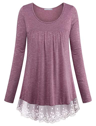 Furnex Tunic Dresses for Women, Juniors Scoop Neck Long Tunic Tops for Leggings Stylish Notch Long Sleeve Scoop Neck Lace Trim Blouse Shirt for Women for Business Pleated Knit T-Shirt (Lace Trim Scoop Neck Tee)