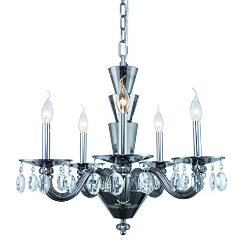 7870 Augusta Collection Chandelier D:23 H:23 Lt:5 Silver Shade Finish Royal Cut Crystal ()