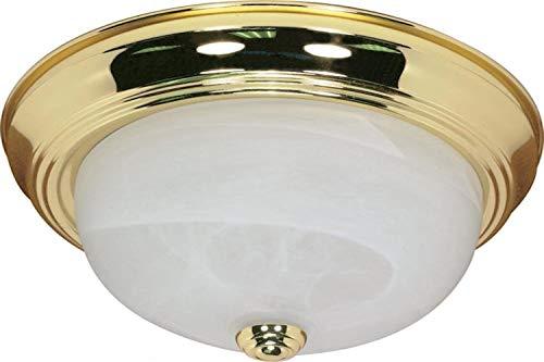 Nuvo Lighting 60/213 Two Light Flush Mount, Polished Brass/Alabaster Glass