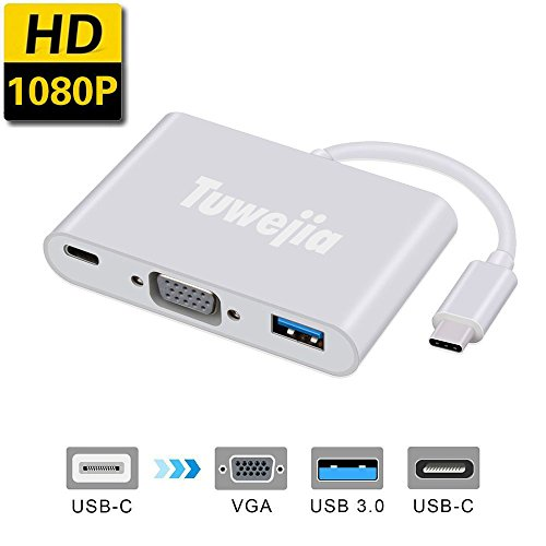 USB Type C to VGA Adapter Tuwejia Multiport USB3.0 Hub Type-C Female with Charging&Video Converter for Apple MacBook,ChromeBook Pixel Projector TV and More Type-C Devices