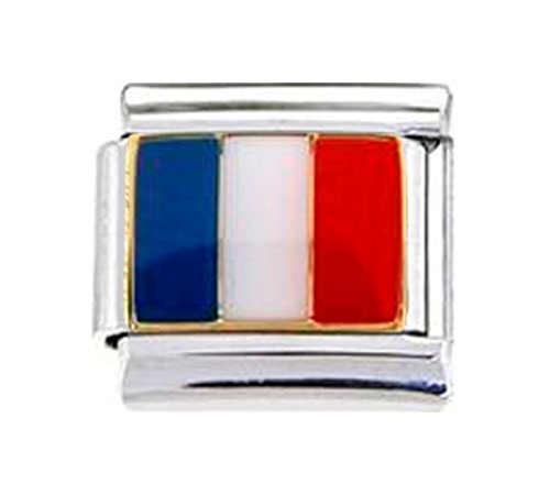 FRANCE FRENCH FLAG Enamel Italian Charm 9mm - 1 x PE011 Single Bracelet - Traditional Italian Charm