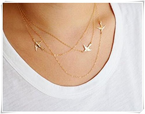 One Life ,one jewerly Gold Flying Birds Necklace, Three Layered Necklace