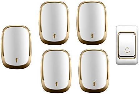 IP44防水ワイヤレスドアベル、ホーム超長距離ドアチャイムキット、1プッシュボタン+5レシーバー、36着メロ、4音量レベル,金