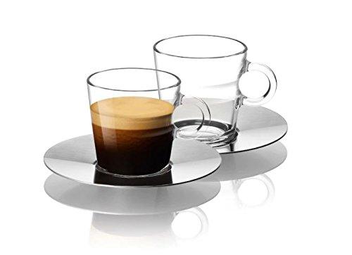 Nespresso Set Glass Collection Espresso Cups & Saucers,A & P Cahen Design,New by Nespresso