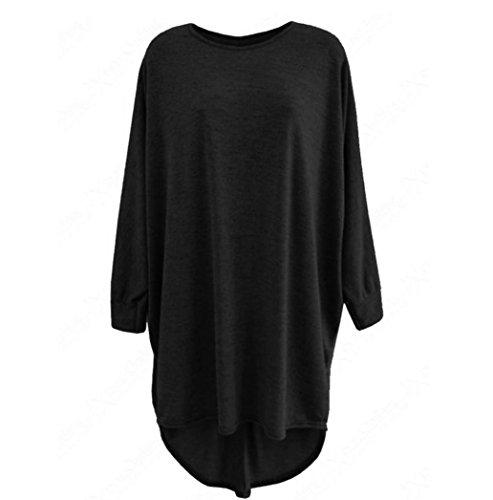 (Sunward Women Sexy High Low Dip Hem Baggy Long Batwing Oversized Casual Wear Long Top Blouse (S, Black))