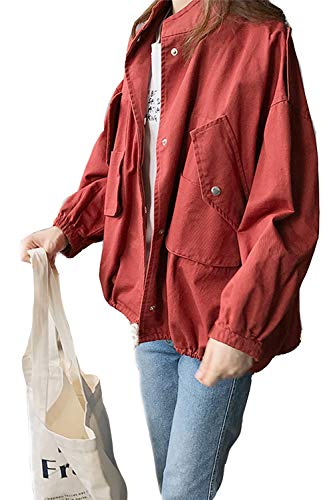 Con Aperto Davanti Donne Cardigan Tasca Impermeabile Outwear Colletto Yulinge Red Le q8TOII