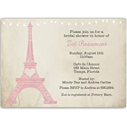 Bridal Shower Invitations, Paris, Eiffel Tower, Pink, Steampunk, Bistro, French, Vintage, Wedding, Personalized, Set of 10 Custom Printed Invites with White Envelopes, Paris Love Story