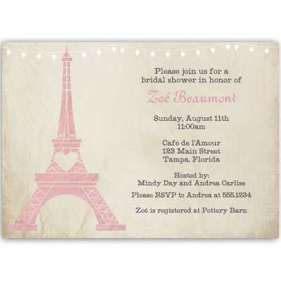 Bridal Shower Invitations, Paris, Eiffel Tower, Pink, Steampunk, Bistro,  French