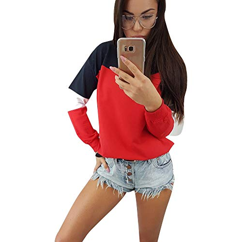 - Blouses for Women Elegant 2018,Women's Accessories,Womens Long Sleeve Splcing Color Sweatshirt Pullover Tops Blouse,Red,M
